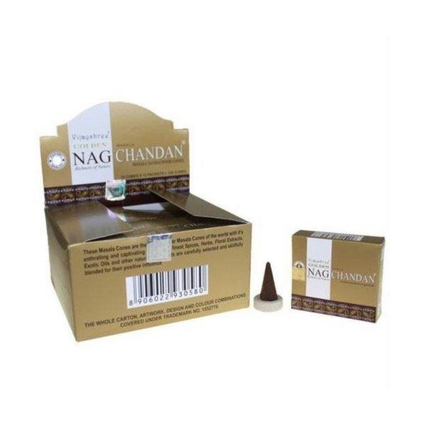 Kiany.nl - Vijashree Golden Nag Chandan wierook cones/kegels
